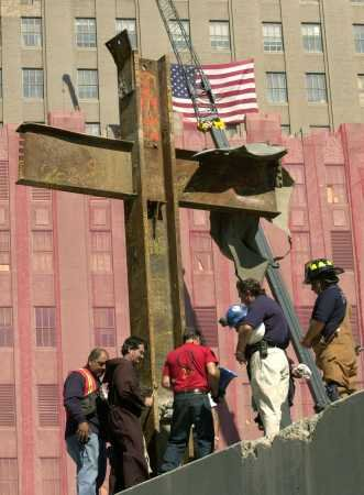 Steel beams in the form of the Cross of Christ created during the collapse of one of the World Trade Center buildings