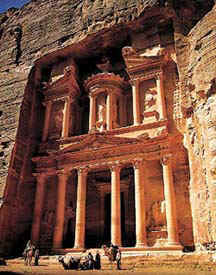 A structure carved into the canyon walls of Petra