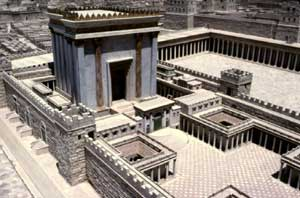 A model of the Second Temple to God in Jerusalem, Israel